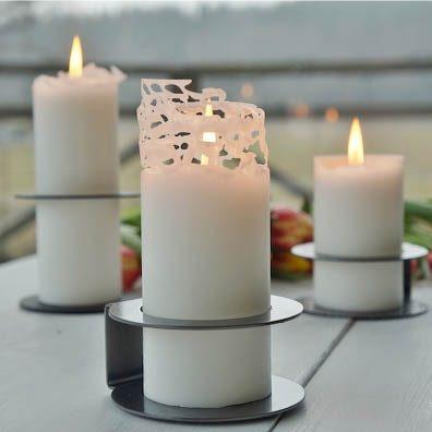vita cylinderljus av 100% stearin